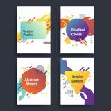 Reeks vector abstracte affiches met geometrische gradiëntvormen en retro kleuren De heldere 80 affiches van ` s Vector Illustratie