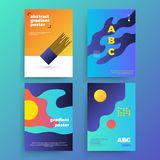 Reeks vector abstracte affiches met geometrische gradiëntvormen en retro kleuren De heldere 80 affiches van ` s Stock Illustratie