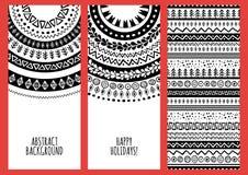 Reeks vector in banners met hand getrokken krabbelornament Royalty-vrije Stock Afbeeldingen