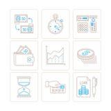 Reeks vector bedrijfs of financiënpictogrammen en concepten in mono dunne lijnstijl Stock Foto