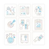 Reeks vector bedrijfs of financiënpictogrammen en concepten in mono dunne lijnstijl Stock Fotografie