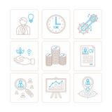 Reeks vector bedrijfs of financiënpictogrammen en concepten in mono dunne lijnstijl Stock Afbeelding