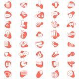 Reeks vector bedrijfspictogrammen Eenvoudige bedrijfspictogrammen Vlakke minimale ontwerpstijl In het leven koraalkleur vector illustratie