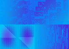 Reeks vector blauwe achtergronden Stock Afbeelding