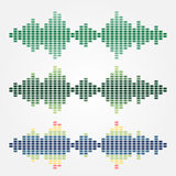 Reeks vector correcte die golvenpictogrammen met kubussen wordt gemaakt stock illustratie