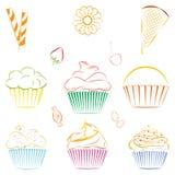 Reeks vector cupcakes en snoepjes overzicht Royalty-vrije Stock Fotografie