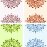 Reeks vector de kaartenmalplaatjes van de mandala overladen groet Royalty-vrije Stock Foto