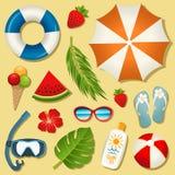 Reeks vector de zomerelementen Royalty-vrije Stock Fotografie