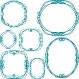 Reeks vector decoratieve ronde kaders Stock Afbeelding