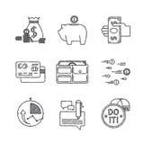 Reeks vector financiële pictogrammen in schetsstijl vector illustratie