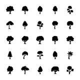 Reeks Vector Geplaatste Pictogrammen van Bomenglyph Stock Afbeelding