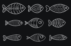 Reeks vector gestileerde vissen Inzameling van aquariumvissen lineair art. Illustratie voor kinderen Royalty-vrije Stock Foto