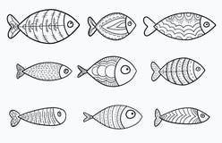 Reeks vector gestileerde vissen Inzameling van aquariumvissen lineair art. Illustratie voor kinderen Royalty-vrije Stock Afbeelding