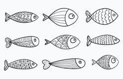 Reeks vector gestileerde vissen Inzameling van aquariumvissen lineair art. Illustratie voor kinderen Royalty-vrije Stock Fotografie