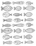 Reeks vector gestileerde vissen Inzameling van aquariumvissen lineair art. Illustratie voor kinderen Royalty-vrije Stock Afbeeldingen