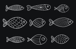 Reeks vector gestileerde vissen Inzameling van aquariumvissen lineair art. Illustratie voor kinderen Royalty-vrije Stock Foto's