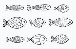 Reeks vector gestileerde vissen Inzameling van aquariumvissen lineair art. Illustratie voor kinderen Stock Afbeelding