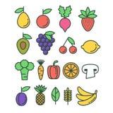 Reeks vector gezonde ecofruit en groentenpictogrammen Royalty-vrije Stock Afbeeldingen