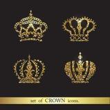 Reeks vector gouden kroonpictogrammen royalty-vrije illustratie