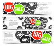 Reeks vector grote verkoop horizontale banners Stock Afbeeldingen