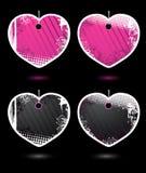 Reeks vector hart-vormige etiketten Royalty-vrije Stock Foto's