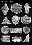 Reeks Vector het Ontwerpelementen van Grunge van Krijtvormen Royalty-vrije Stock Afbeeldingen