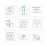Reeks vector het winkelen pictogrammen en concepten in mono dunne lijnstijl Stock Afbeeldingen