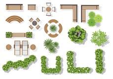 Reeks vector houten banken en treetop symbolen vector illustratie