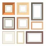 Reeks vector houten kaders Stock Foto's