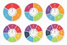 Reeks vector infographic cirkelmalplaatjes royalty-vrije illustratie