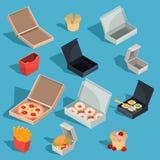 Reeks vector isometrische illustraties van snel voedselmaaltijd in een kartonverpakking en lege open kartondozen royalty-vrije illustratie