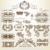 Reeks vector kalligrafische ontwerpelementen en paginadecoratie Stock Afbeeldingen