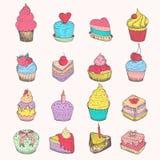 Reeks vector kleine cakes Stock Fotografie