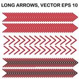Reeks vector lange brede hoekpijlen Stock Fotografie