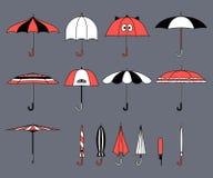 Reeks vector leuke veelkleurige paraplu's in vlakke ontwerpstijl Gesloten en open manierpictogrammen Dekkingstoebehoren Moderne s stock illustratie