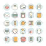 Reeks vector lineaire pictogrammen van bureaulevering Stock Afbeelding