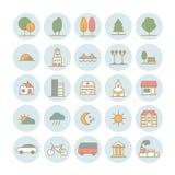 Reeks vector lineaire pictogrammen van de elementen van het stadslandschap Stock Afbeeldingen