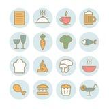 Reeks vector lineaire voedselpictogrammen Stock Afbeeldingen