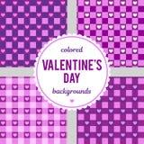 Reeks vector naadloze achtergronden voor de Dag van Valentine ` s Vectorillustratie voor viering Royalty-vrije Stock Afbeelding