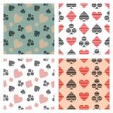 Reeks vector naadloze patronen met gevoerde pictogrammen, symbool van speelkaartsymbolen Royalty-vrije Stock Foto