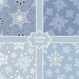 Reeks vector naadloze patronen met sneeuwvlokken Royalty-vrije Stock Foto's