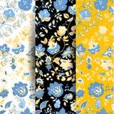 Reeks Vector naadloze patronen van de de zomerkrabbel Bloemen achtergrond Stock Afbeeldingen