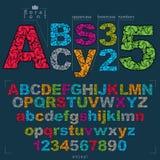Reeks vector overladen letters en getallen, bloem-gevormde types Stock Afbeelding