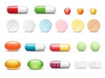 Reeks vector realistische die pillen en capsules op witte achtergrond worden geïsoleerd Geneesmiddelen, tabletten, capsules, drug stock illustratie