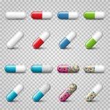 Reeks vector realistische rode, groene, blauwe en kleurenpillen of capsules Royalty-vrije Stock Foto