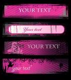 Reeks vector roze grungebanners vector illustratie