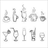 Reeks vector schetsmatige dranken royalty-vrije illustratie