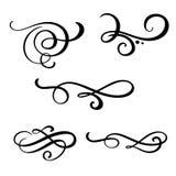 Reeks vector uitstekende lijn elegante verdelers en separators, werveling en hoek decoratieve ornamenten Bloemenlijn filigraan royalty-vrije illustratie