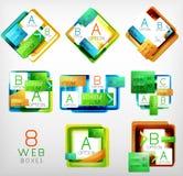 Reeks vector vierkante gevormde dozen van het Webontwerp Stock Foto's