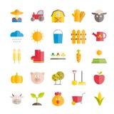 Reeks vector vlakke de landbouw en landbouw pictogrammen Royalty-vrije Stock Fotografie